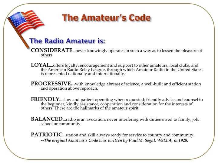 Radio Amateur code